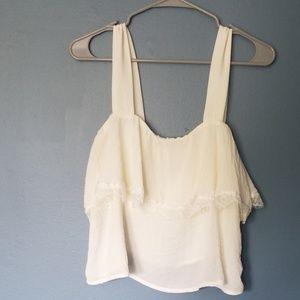 CAD | white lace crop top medium boho nwot